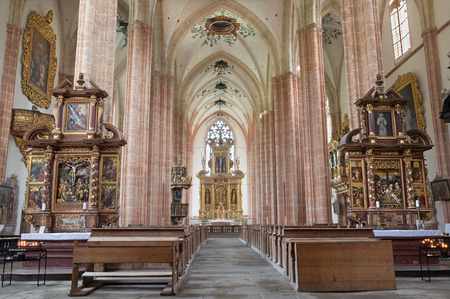 nave: NEUBERG AN DER MURZ, AUSTRIA - SEPTEMBER 13, 2015: The nave of gothic Dom build in 15. cent.