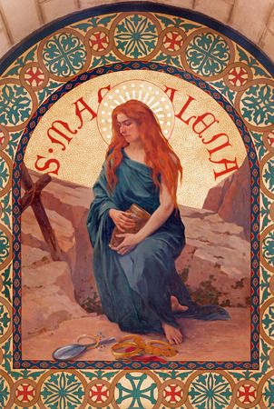 saint mary: JERUSALEM, ISRAEL - MARCH 5, 2015: The paint of Saint Mary Magdalen in st. Stephens church from year 1900 by Joseph Aubert. Editorial