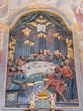 polychrome: BANSKA STIAVNICA, SLOVAKIA - FEBRUARY 20, 2015: The carved polychrome relief of Last supper and altar in lower calvary church from 18. cent. by unknown artist. Editorial