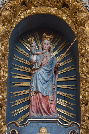 polychrome: NEUBERG AN DER MURZ, AUSTRIA - SEPTEMBER 13, 2015: The carved polychrome gothic statue of Neuberger Madonna  from year 1344 in Dom of Neuberg.
