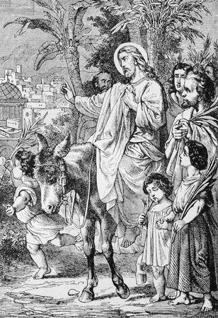 christianity palm sunday: SEBECHLEBY, SLOVAKIA - JULY 27, 2015: The Jesus entry to Jerusalem lithography  by artist Scheuchl 1907 in the book Zivot Jezisa Krista bozskeho Spasitela naseho printed in Trnava.