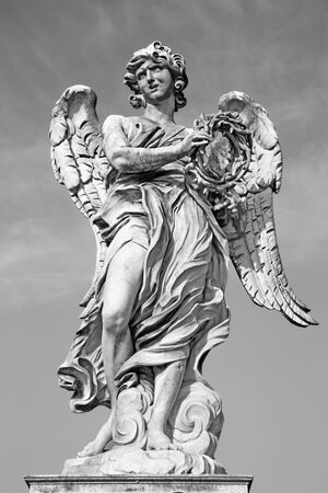 bernini: ROME, ITALY - MARCH 27, 2015: Ponte SantAngelo - Angels bridge - Angel with the crown of thorns G. L. Bernini and son Paolo. (original at SantAndrea delle Fratte, copy by Paolo Naldini) Editorial
