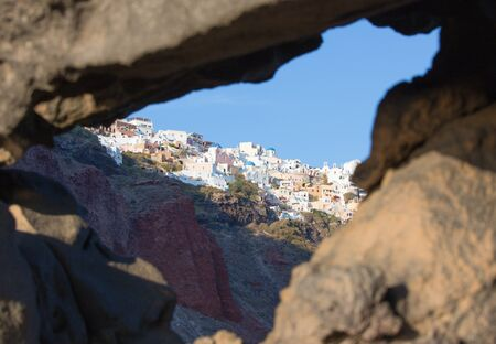 boulders: Santorini - The look to Oia across the pumice boulders. Stock Photo