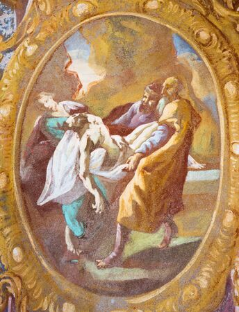 calvary: BANSKA STIAVNICA, SLOVAKIA - FEBRUARY 20, 2015: The Jesus is laid in the tomb fresco in the middle church of baroque calvary by Anton Schmidt from years 1745. Editorial