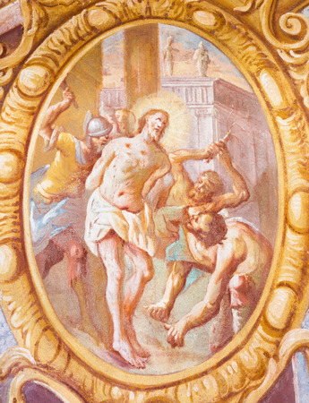 BANSKA STIAVNICA, SLOVAKIA - FEBRUARY 20, 2015: The Flagellation fresco in the middle church of baroque calvary by Anton Schmidt from years 1745.