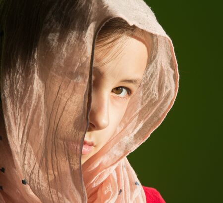 headcloth: The portrait of young girl in the headcloth