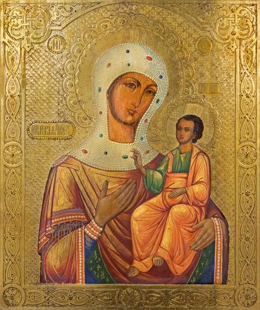 ベツレヘム, イスラエル - 2015 年 3 月 6 日: 19 の未知の芸術家によってシリア正教会でマドンナのアイコン。セント。