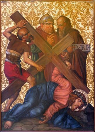 crucis: JERUSALEM, ISRAEL - MARCH 4, 2015: The Jesus fall under cross paint from end of 19. cent. by unknown artist as part of cross way cycle in Armenian Church Of Our Lady Of The Spasm.