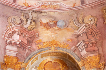 creador: BANSKA STIAVNICA, SLOVAKIA - FEBRUARY 20, 2015: The God the Creator fresco in the middle church of baroque calvary by Anton Schmidt from years 1745. Editorial