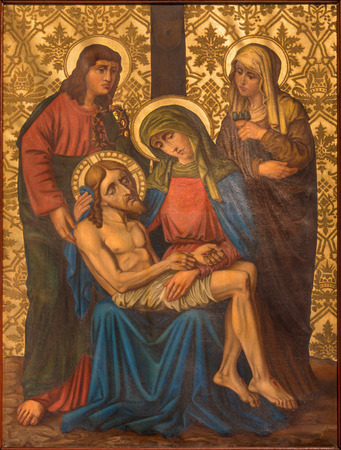 dolorosa: JERUSALEM, ISRAEL - MARCH 4, 2015: The Pieta (Deposition) paint from end of 19. cent. by unknown artist as part of cross way cycle in Armenian Church Of Our Lady Of The Spasm. Editorial