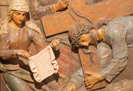 BANSKA STIAVNICA, SLOVAKIA - FEBRUARY 5, 2015: The carved relief Veronica wipes the face of Jesus. as the part of baroque Calvary from years (1744 - 1751) by Dionyz Stanetti.