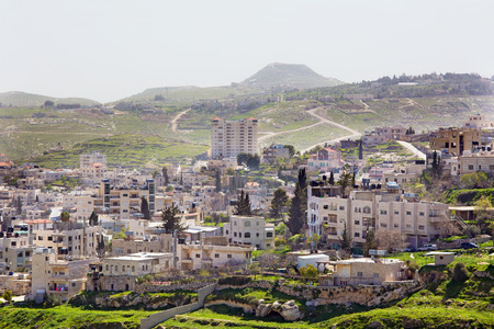 bethlehem: Bethlehem - The outlook over the settlement and Herodion in the backgroud.