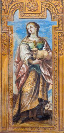 martyr: GRANADA, SPAIN - MAY 29, 2015: The baroque fresco of early christian  virgin–martyr Saint Agnese in nave of church Monasterio de San Jeronimo by Juan de Medina from 18.cent. Editorial