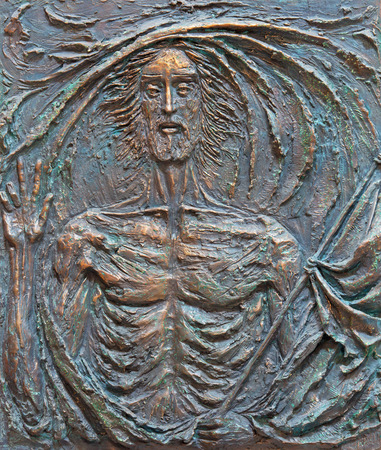 victor: ROME, ITALY - MARCH 25, 2015: The Resurrection of Jesus bronze relief by Fernando Mario Paonessa (2000) in church Basilica dei Santi Ambrogio e Carlo al Corso.