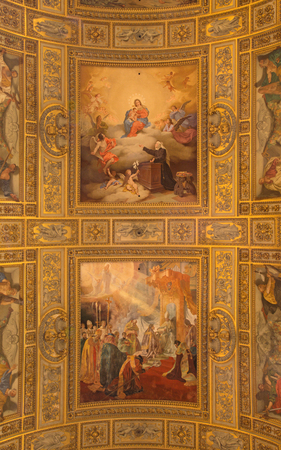 proclamation: ROME, ITALY - MARCH 27, 2015: The ceiling fresco in church Basilica di Sant Andrea della Valle. The Vision of Our Lady to Sister Orsola Benincasa by V. Monti, and The Proclamation of the Dogma of the Immaculate Conception S. Nobili (19. cent.) Editorial