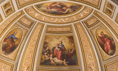 creador: ROMA, ITALIA - 26 de marzo, 2015: El fresco de la Virgen, San Pedro, San Pablo, y el Dios Creador en el �bside lateral de la iglesia Chiesa di San Marino en los Montes del artista desconocido de 16. ciento. Editorial