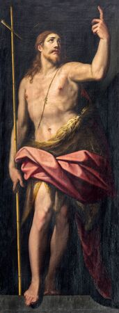baptist: ROME, ITALY - MARCH 26, 2015: The painting of st. John the Baptist in church Chiesa di Santo Spirito in Sassia by Jacopo Zucchi (1583). Editorial