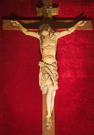17th of march: ROME, ITALY - MARCH 25, 2015: The carved Crucifixion from 17th century in church Chiesa del Jesu by unknown artist. Editorial