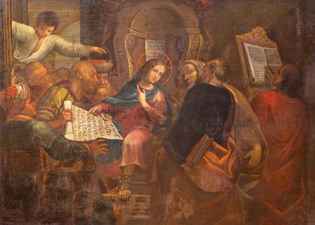 ROME, ITALY - MARCH 27, 2015: The painting Twelve old Jesus in the Temple in church San Pietro in Montorio  Antoniazzo Romano (c. 1430 – c. 1510).