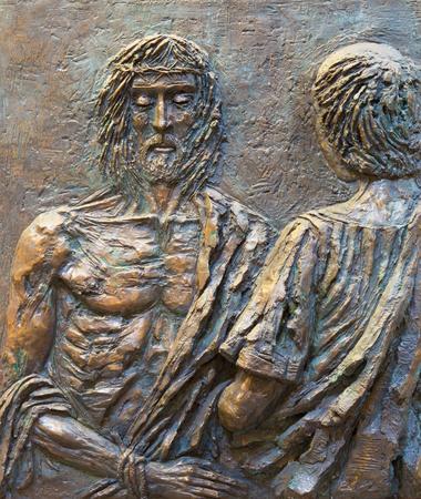 condemned: ROME, ITALY - MARCH 25, 2015: The Jesus is condemned to death bronze relief by Fernando Mario Paonessa (2000) in church Basilica dei Santi Ambrogio e Carlo al Corso. Editorial