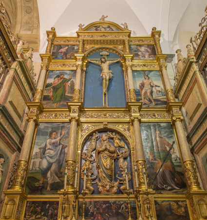 angel gabriel: CORDOBA, SPAIN - MAY 28, 2015: The carved polychrome altar of Capilla de Santa Maria Magdalena y Asuncion de la Nuestra Senora in Cathedral from year 1558 designed by Hernan Ruiz II.