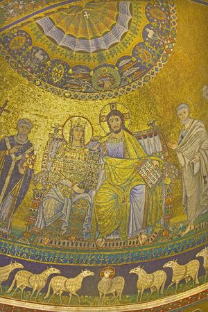 coronation: ROME, ITALY - MARCH 27, 2015: Old mosaic Coronation of the Virgin from main Apse of Santa Maria in Trastevere church from 13th-century by Pietro Cavallini. Editorial