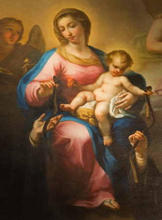 mary mother of jesus: ROME, ITALY - MARCH 27, 2015: The painting of  Madonna della Rosa by  Avanzino Nucci (c. 1552–1629) in Basilica di Sant Agostino (Augustine) .