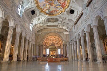 nave: ROME, ITALY - MARCH 26, 2015: The nave of church Chiesa di San Pietro in Vincoli with the antic columns.