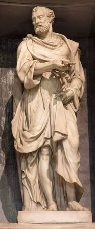 ROME, ITALY - MARCH 27, 2015: The sculpture of st. Peter by  Leonardo Sormani (1530 - 1589)  in church San Pietro in Montorio. Editorial