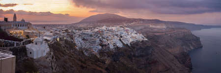 firostefani: SANTORINI, GREECE - OCTOBER 5, 2015: The Fira at morning dusk from Firostefani