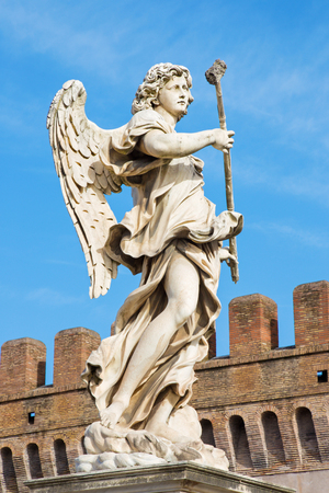guar: ROME, ITALY - MARCH 27, 2015: Statue of angel with the sponge by sculptor Antonio Giorgetti from Angels Bridge in morning light. Editorial