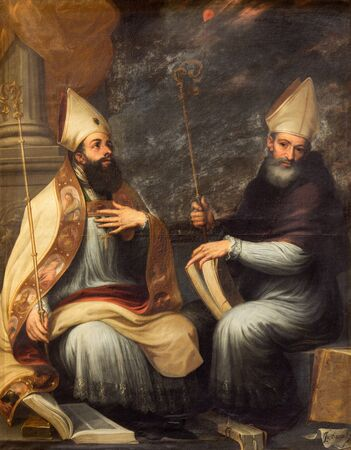 theologian: GRANADA, SPAIN - MAY 29, 2015: The paint of St. Ambrose and St. Augustine the Doctors of the west catholic church in the church Monasterio de San Jeronimo by Juan de Sevilla Romero (1643 - 1695). Editorial
