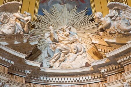 thomas stone: ROME, ITALY - MARCH 26, 2015: The marble sculpture of God the Father in Thomas of Villanova side chapel by Melchiorre Caffa (1635 - 1667) in church in Basilica di Sant Agostino (Augustine).