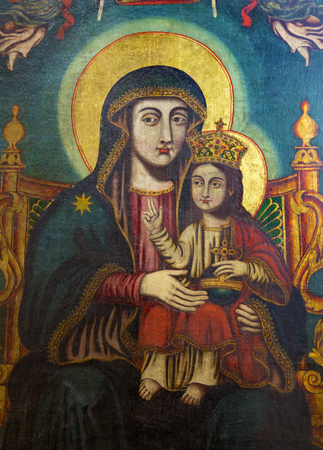 mary mother of jesus: JERUSALEM, ISRAEL - MARCH 3, 2015: The Icon of Madonna from Church of the Holy Sepulchre by unknown artist.
