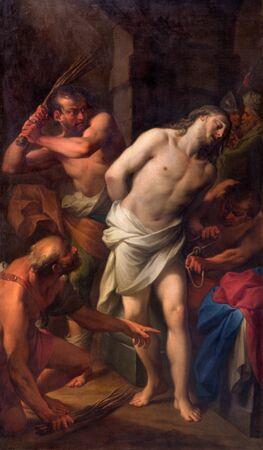 flagellation: ROME, ITALY - MARCH 25, 2015: The Flagellation of Christ by Andrea Casali (1777)  in the church Chiesa della Santissima Trinita degli Spanoli - Trinitarian order.