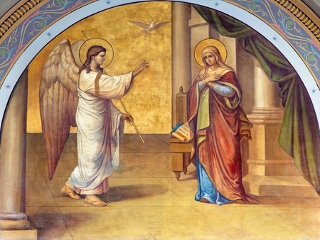 angel gabriel: ATHENS, GREECE - OCTOBER 8, 2015: The fresco of Annunciation on the facade of Metropolitan Cathedaral by B. Antoniasis 1895