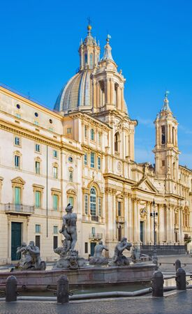 fontana: Rome - Piazza Navona and baroque Santa Agnese in Agone church in morning light and Fontana del Moro. Editorial
