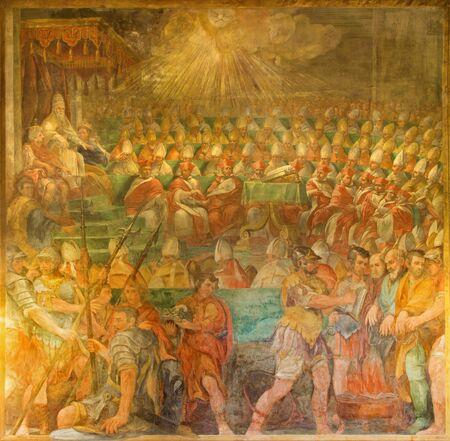 martino: ROME, ITALY - MARCH 26, 2015: The Pope Sylvester Presiding at the Synod of 324 which is by Galeazzo Leoncino )1640) in church Chiesa di San Martino ai Monti.