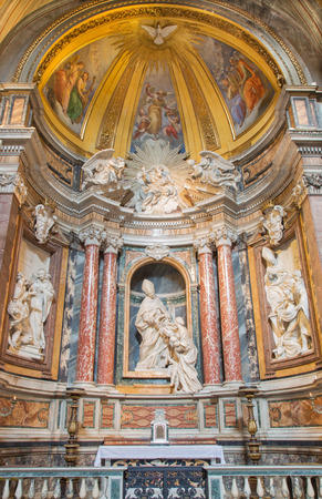 bible altar: ROME, ITALY - MARCH 26, 2015: The marble sculpture of St. Thomas of Villanova in his side chapel by Melchiorre Caffa (1635 - 1667) in church in Basilica di Sant Agostino (Augustine). Editorial