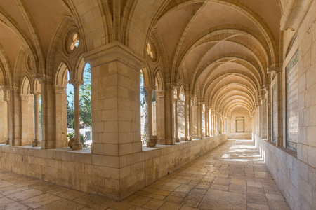 mount of olives: JERUSALEM, ISRAEL - MARCH 3, 2015: The gothic corridor of atrium in Church of the Pater Noster on Mount of Olives.