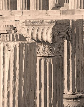 ionic: Athens - The detail of Ionic capital on the Acropolis.