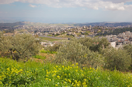 mount of olives: Jerusalem - The outlook from Mount of Olives to east. Stock Photo