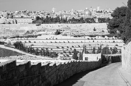 mount of olives: Jerusalem - Outlook from Mount of Olives to old city with the Dom of Rock, church of Redeemer, Basilica of Holy Sepulchre and tower of Latin patriarchat. Editorial