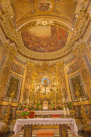 saint mary: ROME, ITALY - MARCH 24, 2015: The presbytery in church Chiesa di Santa Maria della Vittoria with the fresco of Entrance of Madonna into Prague after battle of White Mountain by G. D. Cerrini (1675). Editorial