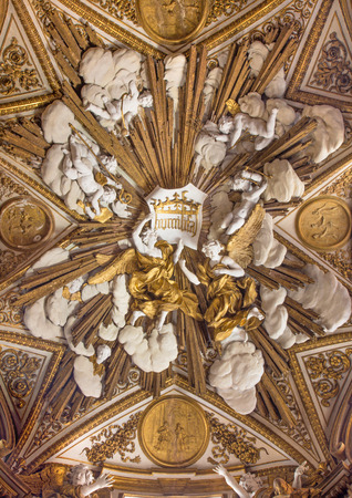st charles: ROME, ITALY - MARCH 26, 2015: Baroque relief of angels on the vault in Chapel of St Charles Borromeo in Chiesa Nuova (Santa Maria in Vallicella) designed by C. Arcucci and C. Rainaldi (18. cent.)
