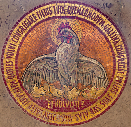 bird of israel: JERUSALEM, ISRAEL - MARCH 3, 2015: The mosiac of broody hen and chickens  in altar of  Dominus Flevit church on Mount of Olives as the symbol of love of God (after Christs words: Luke 13:34).