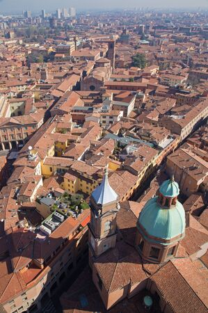 look down: Bologna - Look down from Torre Asinelli to church of st. Bartolomeo e Gaetano.