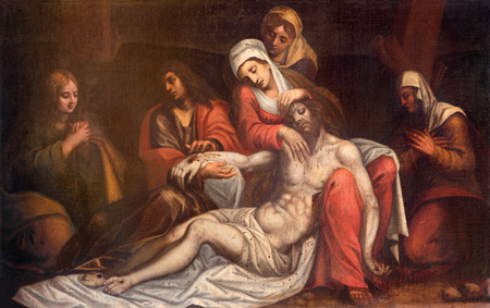 santa cross: PADUA, ITALY - SEPTEMBER 10, 2014: The paint of Pieta (Depostition of the cross) by unknown venecian painter of 17. cent.  in church chiesa di Santa Maria del Torresino. Editorial