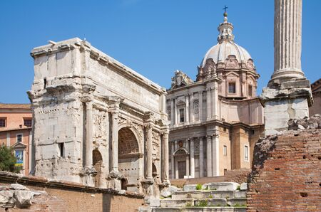 severus: Rome - Forum romanum and the Triumph arch of Septimus Severus and st. Lucke chruch.