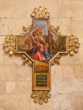 crucis: VERONA, ITALY - JANUARY 27,2013: Jesus fall under cross. Cross as part of cross-way cycle in Basilica San Zeno by unknown artist.